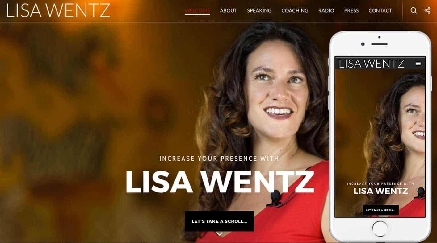 LisaWentz.com-homepage-iphone6s-byTheWordPressNinja