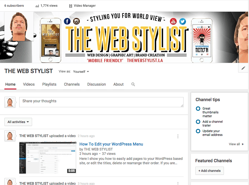 Youtube.com/TheWebStylist Home Page